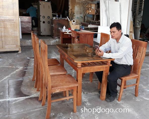 Bộ bàn ăn gỗ xoan đào tự nhiên