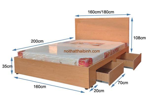 Kích thước giường ngủ cao cấp có ngăn kéo